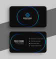 black and blue minimal business card template vector image vector image