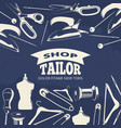 Blue tailor shop fashion banner or poster with