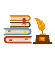 book pile and gold feather award isolated objects vector image