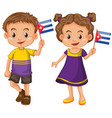 boy and girl holding flag of cuba vector image vector image