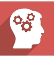 Brain Gears Flat Longshadow Square Icon vector image