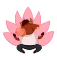bull meditating in lotus animal character vector image vector image