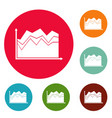 business graph icons circle set vector image vector image