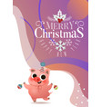 cartoon cute piggy with xmas tree toys greeting vector image