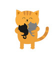 cat hugging two little baby kitten father or vector image vector image