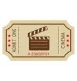cinema paper ticket old retro styled ticket vector image vector image