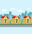 city with three two-story cartoon houses vector image vector image