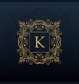 classic floral monogram design for letter k logo vector image vector image