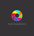 Colored aperture of the camera lens photo studio vector image vector image