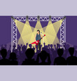 concert pop group artists on scene music stage vector image