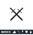 Cross swords icon flat vector image vector image