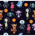 Cute funny cartoon monsters seamless pattern vector image vector image