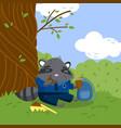 cute little raccoon in school uniform sitting vector image vector image