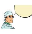 doctor man pop art portrait vector image