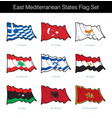 east mediterranean states waving flag set vector image