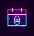 easter calendar neon sign vector image vector image