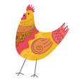 easter chicken with ornaments on plumage chick vector image