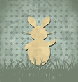 Easter happy vintage poster with rabbit and grass vector image vector image