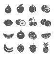 fruits berries black silhouette bold icons set vector image