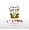 funny cute cats twins vector image vector image