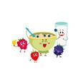 funny smiling oatmeal porridge bowl and raspberry vector image