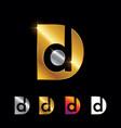 golden monogram initial letter d vector image vector image