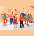 group people having fun at home party vector image