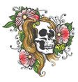 hand drawn human skull with flowers tattoo vector image vector image
