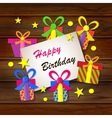 Happy birthday Greeting card Gift boxes on a vector image vector image