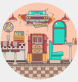 interior of an old american diner restaurant vector image vector image
