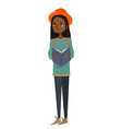 isolated flat cute african-american girl vector image