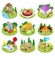 isometric bbq picnic summer camp people park vector image vector image