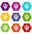 khanda symbol sikhism religion icons set 9 vector image