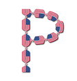 Letter P made of USA flags in form of candies vector image vector image