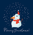 merry christmas snowman smiling in christmas snow vector image vector image