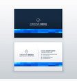 minimal blue business card design vector image vector image