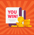 money winner banner with you win text message vector image vector image