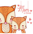 mothers message card with animals cartoons vector image
