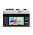 old style retro camera back with happy famil vector image vector image