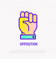 opposition thin line icon fist symbol of power vector image