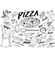 pizza menu hand drawn sketch set pizza vector image vector image