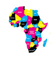 Political map of africa continent in cmyk colors vector image