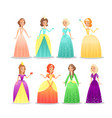princesses flat set vector image