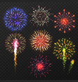 realistic fireworks carnival multicolored vector image
