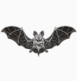 realistic monochrome bat spread wings and cute vector image vector image