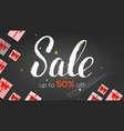 sale ads banner template with present boxes up vector image