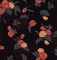 Seamless floral pattern with outline roses vector image
