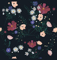 seamless floral pattern with wild flowers vector image