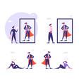 set business people looking in mirror imagine vector image vector image