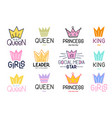 set of crown and lettering inspirational quote vector image